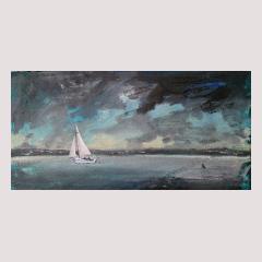 Shrimper on sailcloth